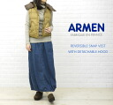ARMEN( Amen) nylon reversible food down vest, NAM1055-0341202