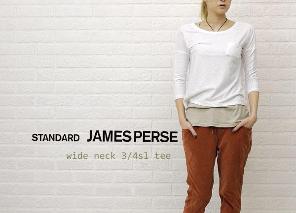 JAMES PERSE(ジェームスパース) コットン 七分袖 ワイドネック Tシャツ・16-03-25-03305の着用イメージ