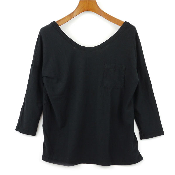 Color image of JAMES PERSE( James Perth) cotton three-quarter sleeves wide neck T-shirt .16-03-25-03305