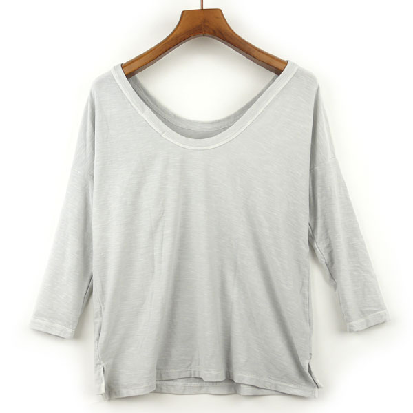 Detailed image of JAMES PERSE( James Perth) cotton three-quarter sleeves wide neck T-shirt .16-03-25-03305