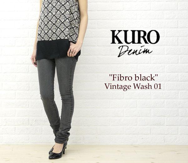 "KURO(クロ) ストレッチ スキニー デニムパンツ""Fibro black Vintage Wash 01""・FIBROBLACK-VW01の着用イメージ"