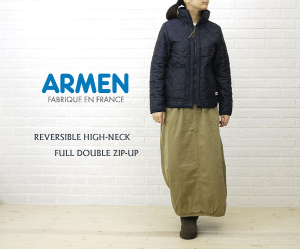Wearing image of ARMEN( Amen) polyester quilting high neck double zip reversible jacket, NAM0565
