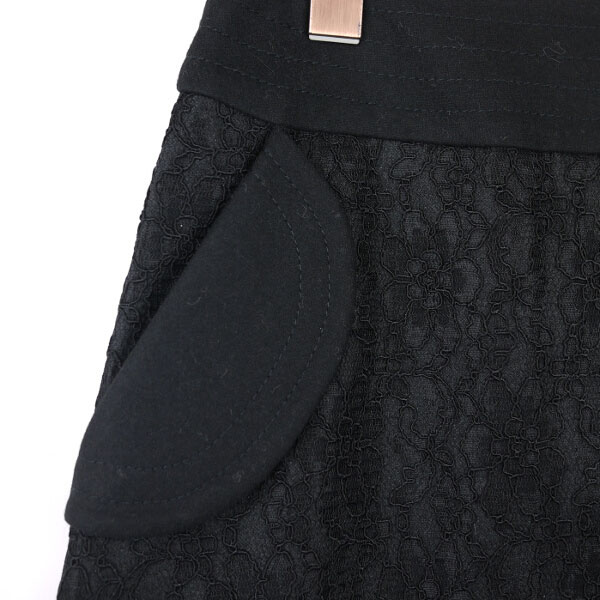 Detailed image of mur mure( ミュルミュール) wool rayon race knee length box pleated skirt .310-252