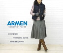 ARMEN( Amen) wool denim reversible front snap-down best, NAM0856WJ-0341202 fs3gm