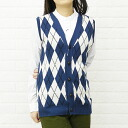 EASY KNIT( easy knit) cotton acrylic Argyle V neck best, NEK1303CA-0341301