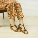 "GAIMO( ガイモ) leather T-strap wedge sole espadrille sandals ""UMERA"", UMERA-V-0241301"