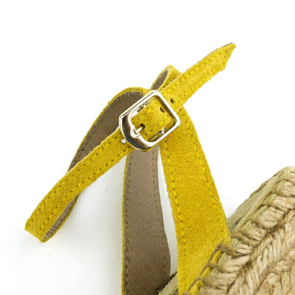Detailed image of Calzanor( カルザノール) suede leather espadrille cross strap wedge sole sandals, S787