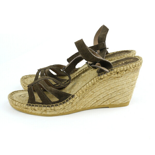 Detailed image of Calzanor( カルザノール) espadrille suede leather wedge sole T-strap sandals, A812