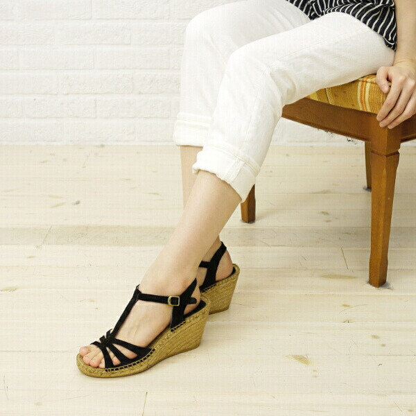 Color image of Calzanor( カルザノール) espadrille suede leather wedge sole T-strap sandals, A812