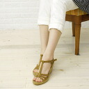 Calzanor (カルザノール) espadrille suede leather wedge sole T strap Sandals-A812-0241301