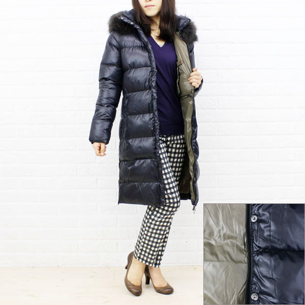 "Color image of food long coat ""DENEB"", DENEB with the DUVETICA( デュベティカ) nylon down fur"