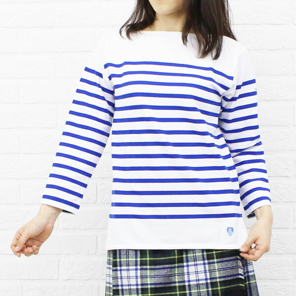 Color image of ORCIVAL( オーチバル オーシバル) cotton long sleeves boat neck rale horizontal stripe T-shirt (regular) .6803