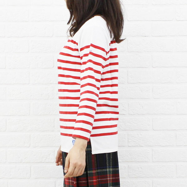 Detailed image of ORCIVAL( オーチバル オーシバル) cotton long sleeves boat neck rale horizontal stripe T-shirt (regular) .6803