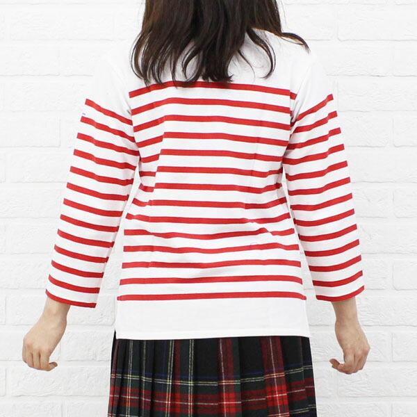 Detailed image of ORCIVAL( オーチバル オーシバル) cotton long sleeves boat neck rale horizontal stripe T-shirt (regular) .6803