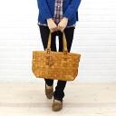 horizontal tote bag leather mesh anyam nya robita (アニャムニャロビタ)-an-099M-2621302