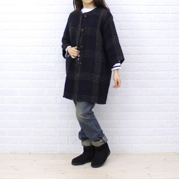 BRANIGAN(ブラニガン)  ウール アルパカ  七分袖 ノーカラー  コート・NBN1251 のカラー画像