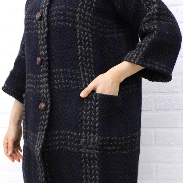 BRANIGAN(ブラニガン)  ウール アルパカ  七分袖 ノーカラー  コート・NBN1251 の詳細画像