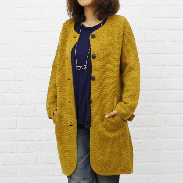 NIMES(ニーム) ウール  ポップコーン編み ノーカラー ニット  ロングコート・NLK3509042 のカラー画像