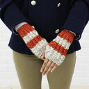 2000 HIGHLAND2000( highland) wool horizontal stripe fingerless mitten glove, 283F929190-2491302