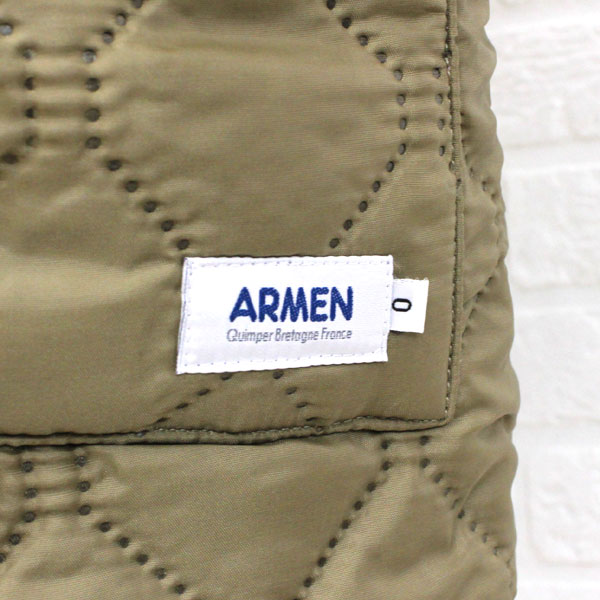 Detailed image of long coat, NAM0681 with the ARMEN( Amen) polyester quilting reversible food