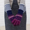 """ERIBE (エリベ) wool fair Isle pattern touch-enabled knit gloves """"Blizzard Fairsle Gloves FORTUNE""""-AG3210-0321302"""