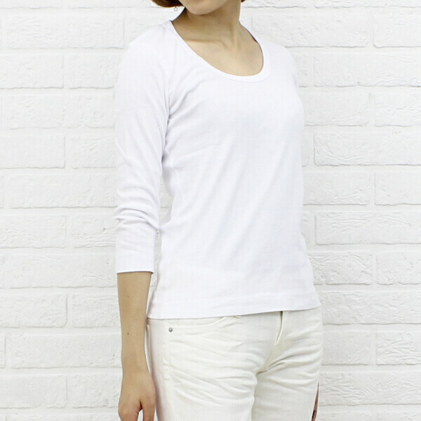 "Color image of three dots( three Dodds) cotton seven minutes sleeve U neck T-shirt ""Jessica Tee"", AA4S-041"