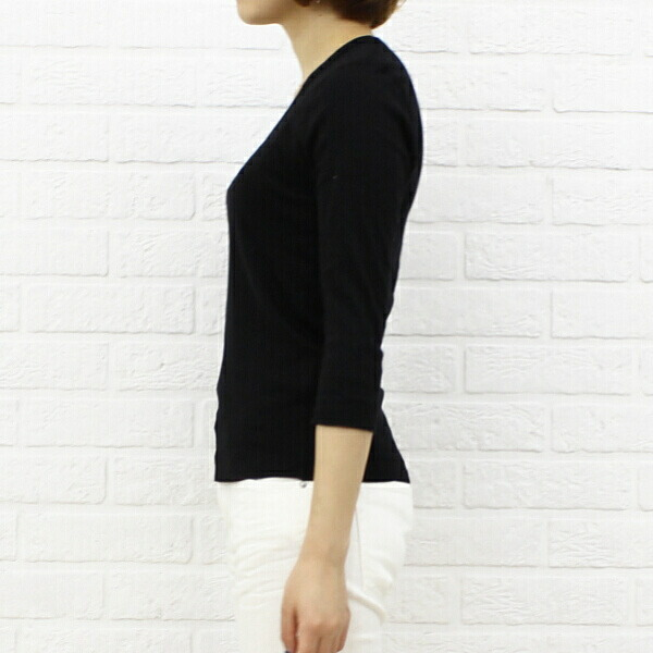 "Detailed image of three dots( three Dodds) cotton seven minutes sleeve U neck T-shirt ""Jessica Tee"", AA4S-041"