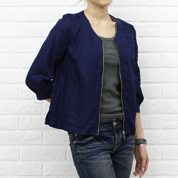 Color image of kaene( カエン) cotton linen blend cupra no-collar three-quarter sleeves back pleats zip jacket .005185
