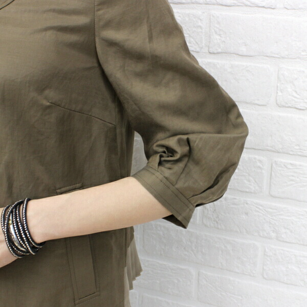 Detailed image of kaene( カエン) cotton linen blend cupra no-collar three-quarter sleeves back pleats zip jacket .005185