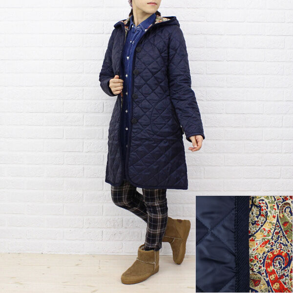 "Color image of Liberty quilting coat ""BRUNDON LIBERTY"", BRUNDON-LIB with the LAVENHAM( ラベンハム) polyester food"