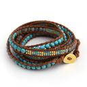 Five CHAN LUU( Chan roux) ターコイズラピスミックスブラウンレザーラップ bracelets, C141253-3131401