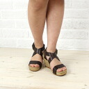 "GAIMO (gaim) leather cross strap wedge sole espadrille Sandals ""EMILY"", EMIL-V-0241301"