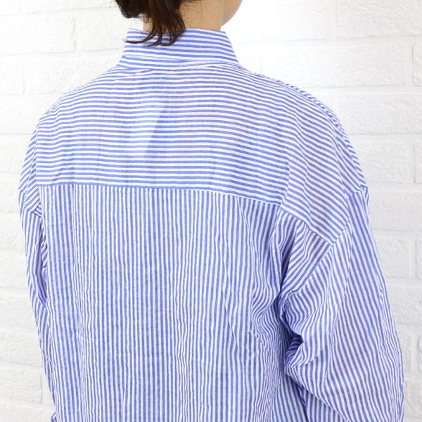 传手 棉条纹的长袖衬衫 衬衫裙子 S