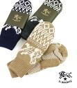 IL BISONTE (ilbizonte) wool acrylic Buffalo pattern crochet knit hand bag mitts & 5442409180-0061402