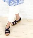 """GAIMO( ガイモ) suede cloth strap espadrille wedge sole sandals """"NUNCA ANTE"""", NUNC-A-0241301"""