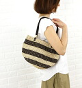 Anjou Chouette (アンジュシュエット) Abaca leather border pattern hand & shoulder カゴバッグ / S31037-0311401