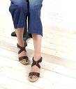 "GAIMO (gaim) leather cross strap wedge sole espadrille Sandals ""EMILY"", EMIL-V-0241301"