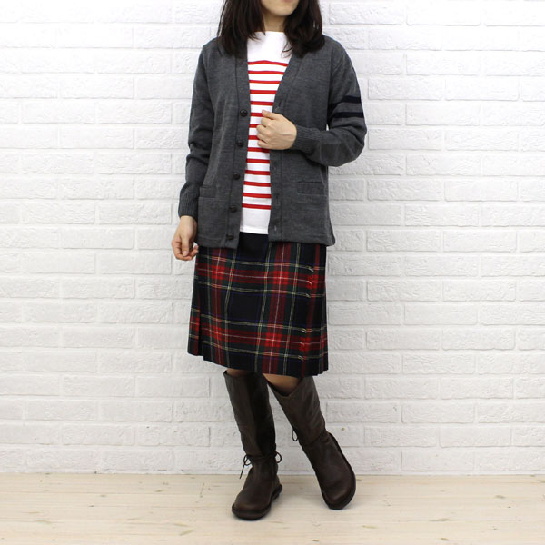 Wearing image of ORCIVAL( オーチバル オーシバル) cotton long sleeves boat neck rale horizontal stripe T-shirt (regular) .6803