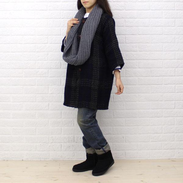 BRANIGAN(ブラニガン)  ウール アルパカ  七分袖 ノーカラー  コート・NBN1251 の着用イメージ
