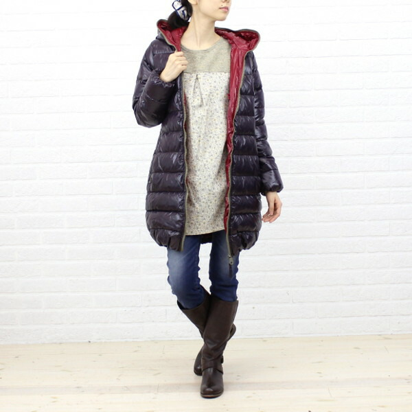 "Wearing image of the DUVETICA( デュベティカ) nylon down hooded middle length coat ""ACE"", ACE"