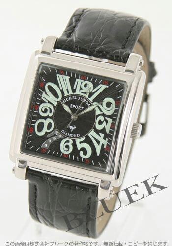 ミシェルジョルダン スポーツ スクエア ダイヤモンド レザー ブラック メンズ SG5000-1