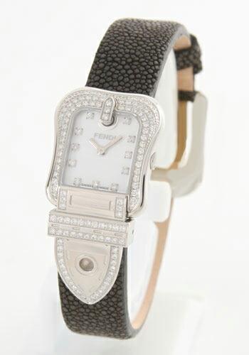 フェンディ ビーフェンディ パヴェ ダイヤモンド ガルーシャレザー ブラック/ホワイトシェル レディース F383241PC1