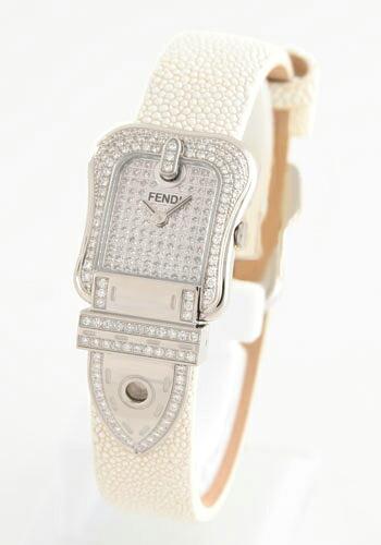 フェンディ ビーフェンディ パヴェ ダイヤモンド ガルーシャレザー ホワイト/ダイヤフェイス レディース F383244PC2