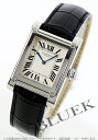 Xmas sale ★ Cartier tank abyss platinum rolling by hand alligator leather black / silver men W1529651