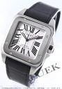 Cartier Santos 100 LM automatic alligator leather Black / Silver mens W20073X8