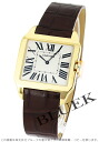 Cartier Santos Dumont YG pure gold hand-rolled Leather Brown / silver mens W2008751 watch clock