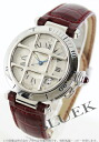 Cartier pasha grid automatic alligator leather wine red / silver men W3102255