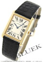 Cartier tank solo LM YG pure gold alligator leather black / silver men W5200004
