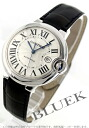 Cartier baron blue LM WG pure gold automatic alligator leather black / silver men W6901351