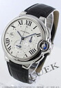 Cartier baron blue LM automatic chronograph alligator leather black / silver men W6920003